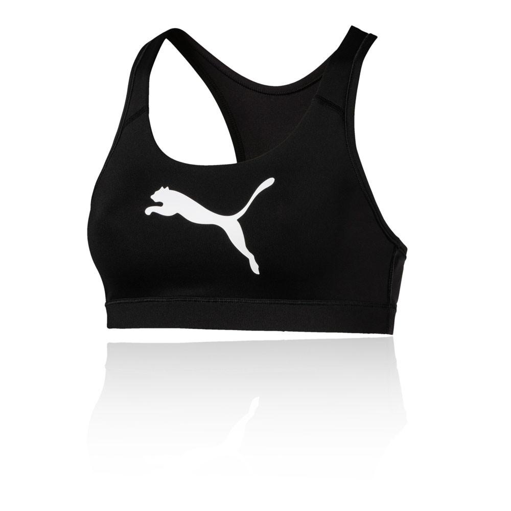 cf06b80bbee5a Puma Womens 4Keeps Mid Impact Sports Support Bra Top Black Gym Running