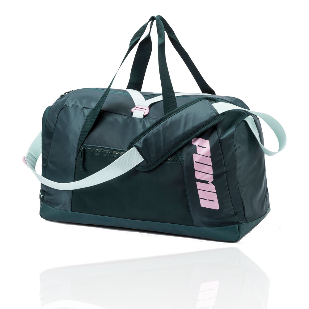 383c008cea Details about Puma Womens Active Training Gym Fitness Duffle Bag Green Pink  Sports Running