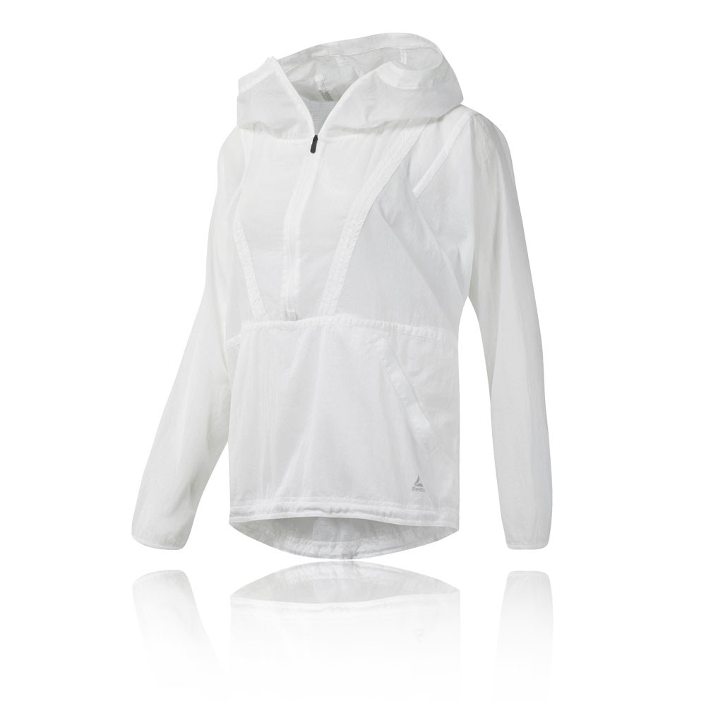 online store 703c4 d4372 Details about Reebok Womens Packable Hooded Windbreaker Anorak White Sports  Running Breathable