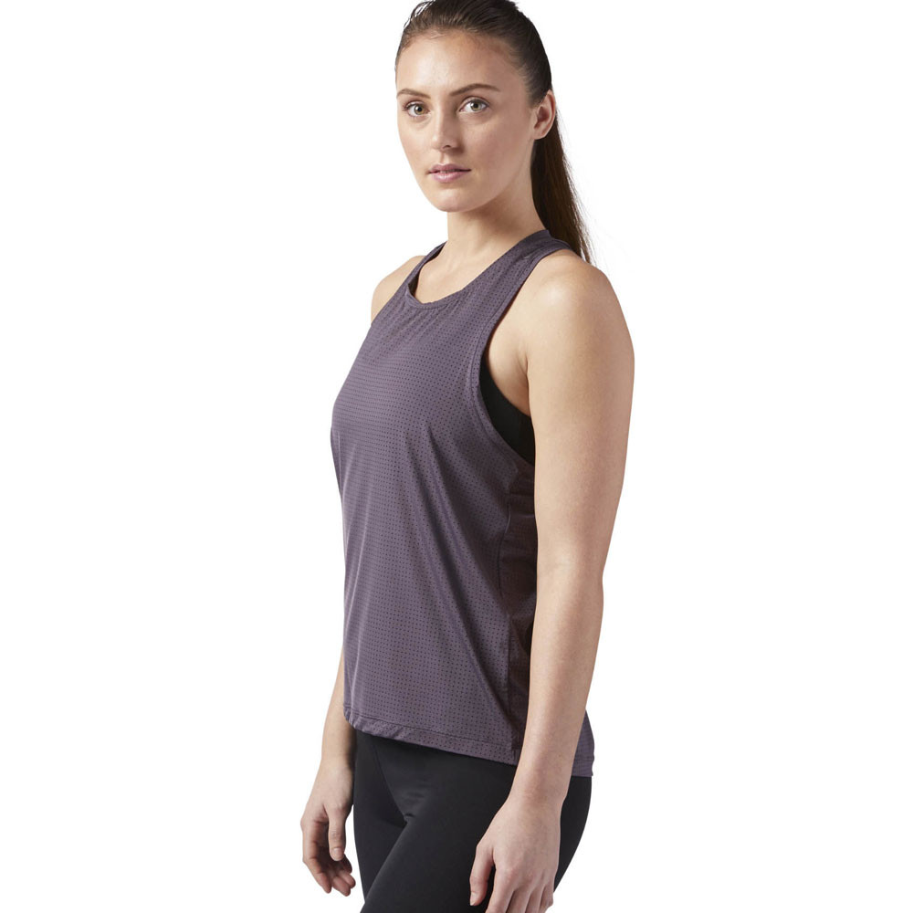 cc601fb043 Details about Reebok Womens Perforated Speedwick Tank Top Purple Sports Gym  Breathable