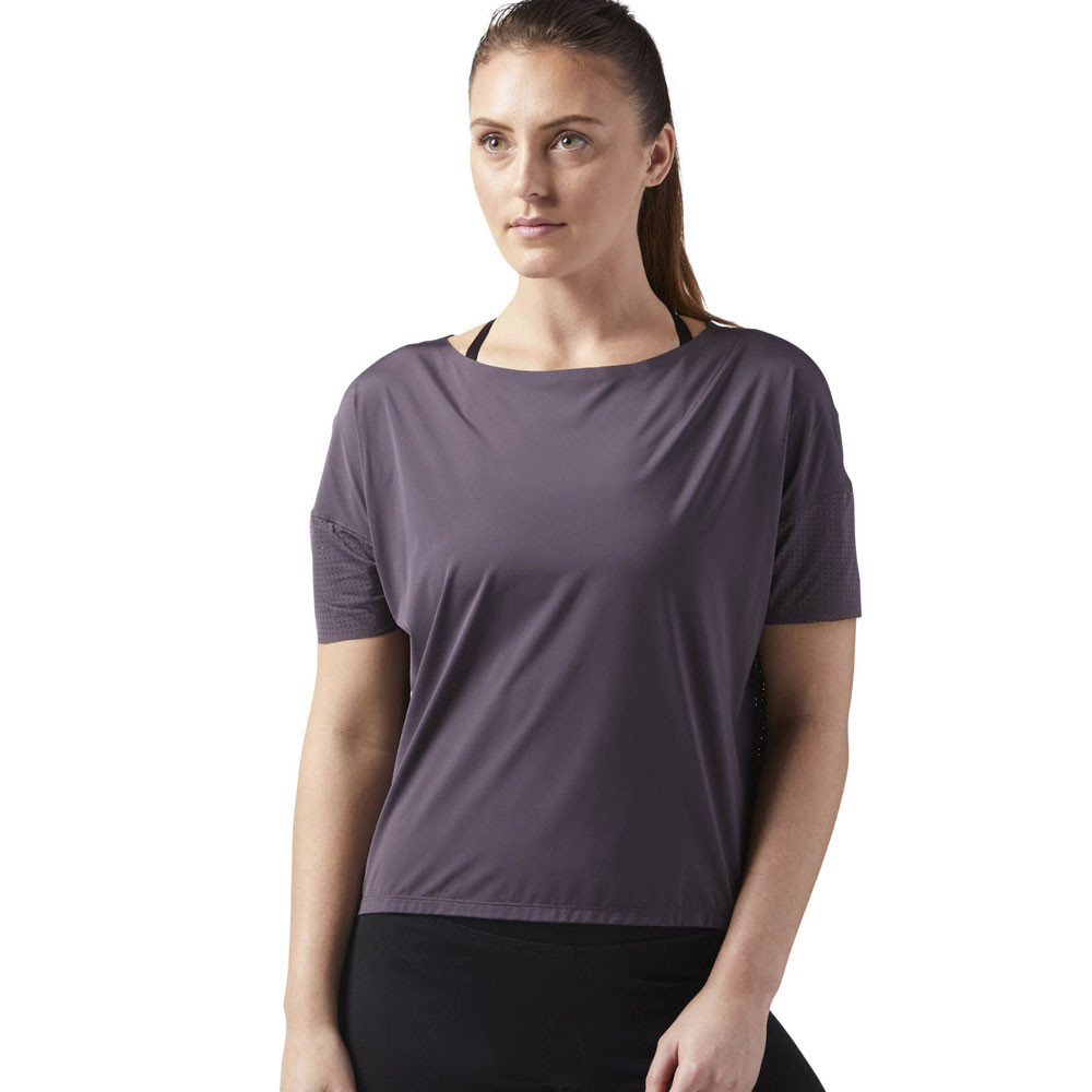 Details about Reebok Womens Relaxed Training Gym Fitness T Shirt Tee Top Purple Sports