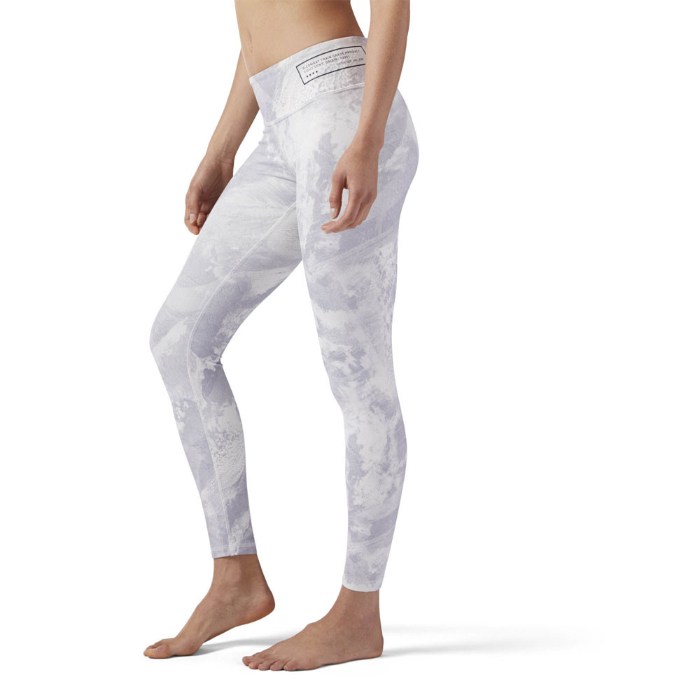 558f3fe1b301c Reebok Womens Combat Prime Lux Bold Tight Grey White Sports Gym Breathable