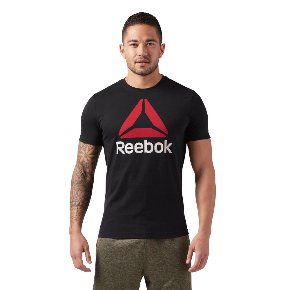 00b7ab3952 Details about Reebok Mens Stacked Training Gym Fitness Tee Black Sports  Breathable Lightweight