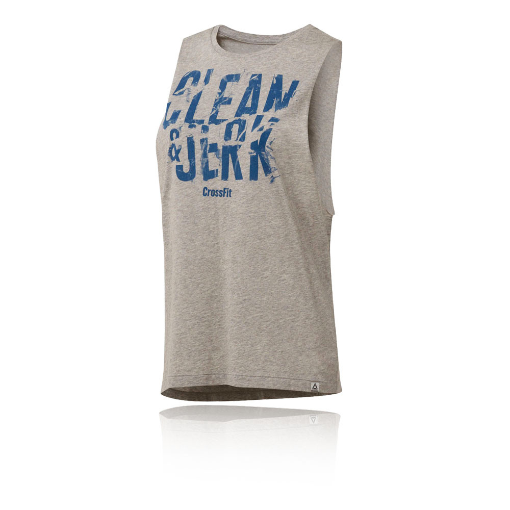 99215bc6af1dd0 Reebok Womens CrossFit Tank Top Grey Sports Gym Breathable Lightweight