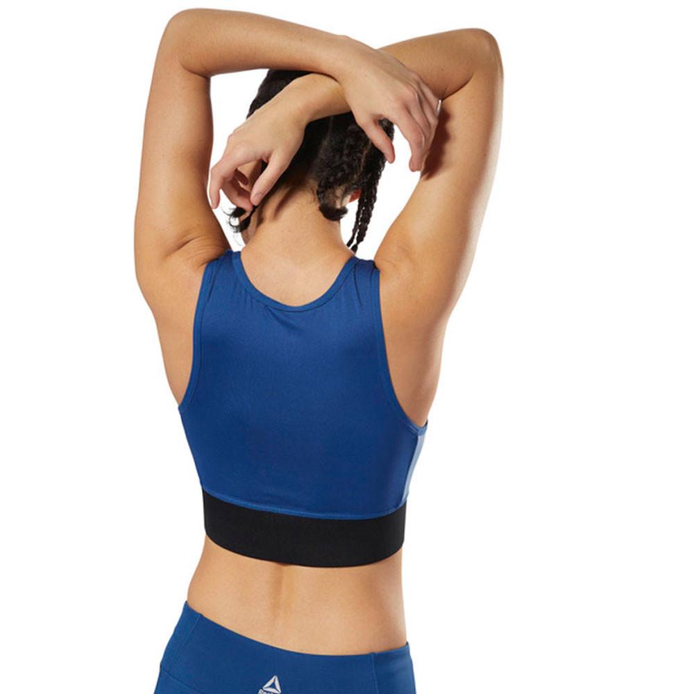 c1bcc379f49 Reebok Womens Layering Bralette Blue Sports Gym Breathable Lightweight