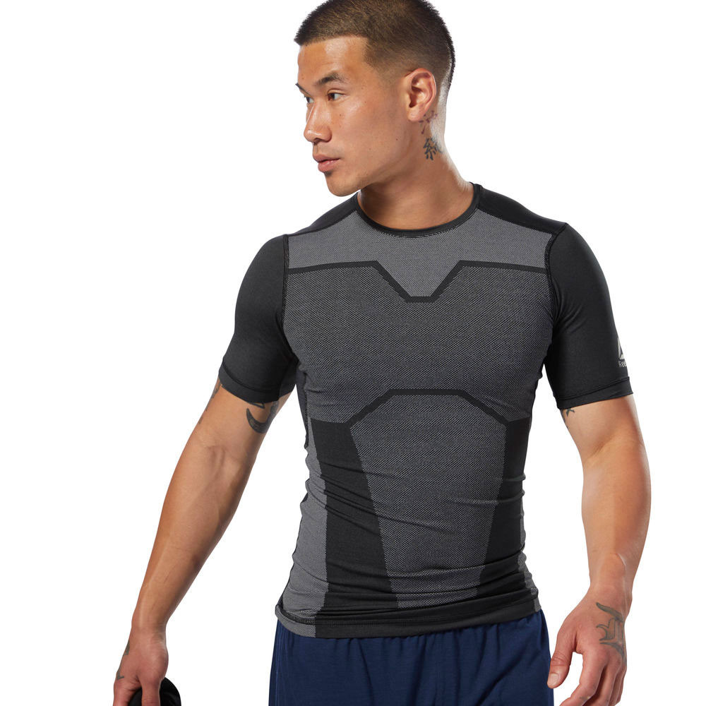 1e0da0e8205 Details about Reebok Mens AC Vent Compression T Shirt Tee Top Black Grey  Sports Gym Running
