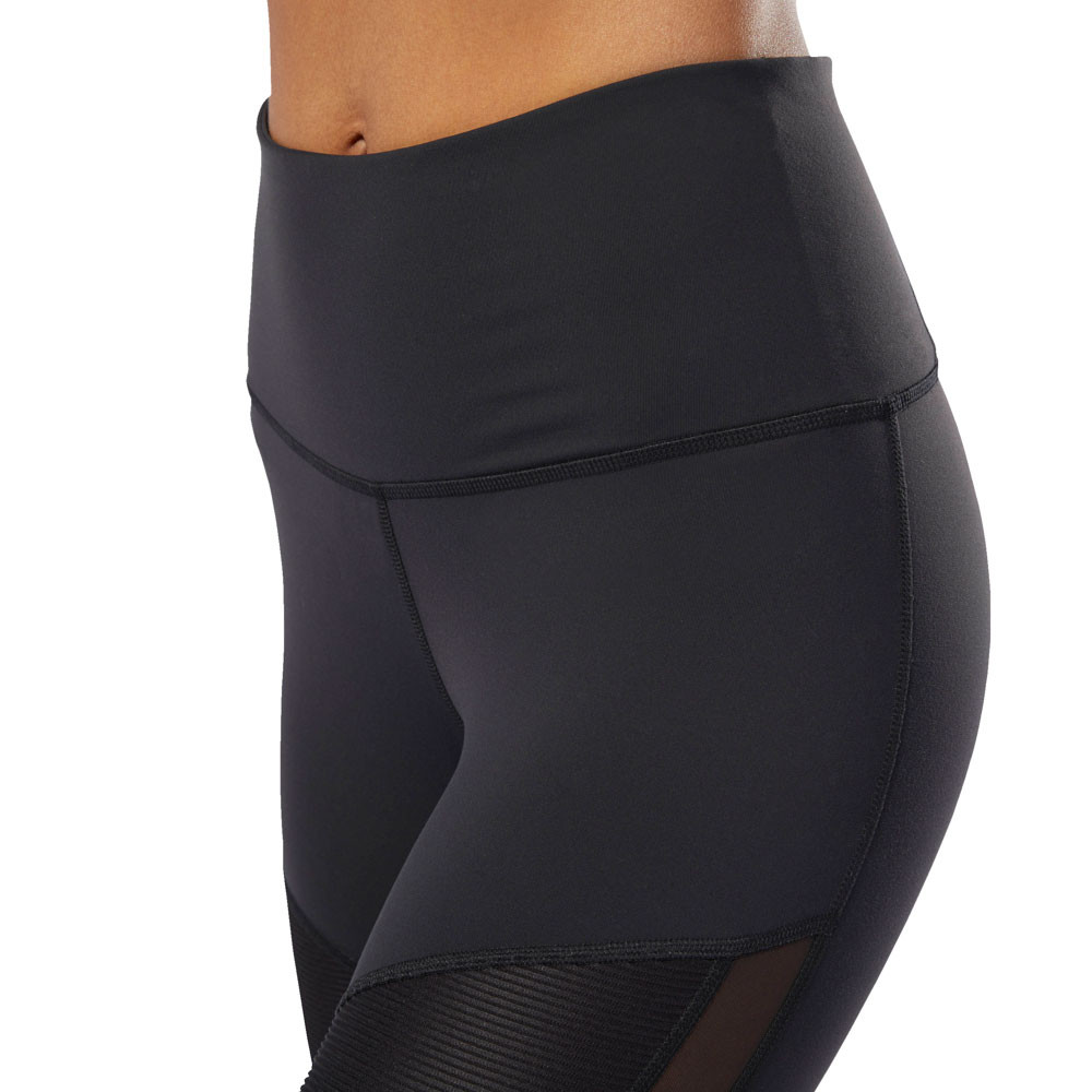 4f2389c9 Reebok Womens C Lux High Rise Ribbed Training Gym Fitness Tights Bottoms  Pants