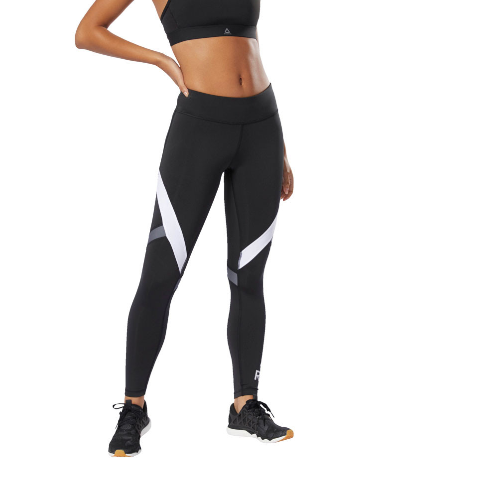 48d3ff37fa Details about Reebok Womens Big Delta Training Gym Fitness Tights Bottoms  Pants Trousers Black