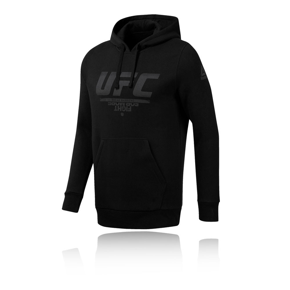 00fe33d1 Reebok Mens UFC Pullover Hoodie Black Sports Gym Hooded Lightweight Pockets
