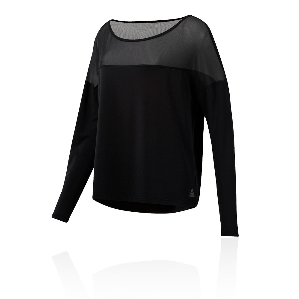 faa9365c33 Details about Reebok Womens D Mesh Long Sleeve Top Black Sports Gym  Breathable Lightweight