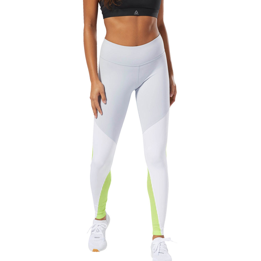 ad107c3bb1 Details about Reebok Womens Lux Tights Bottoms Pants Trousers Green White  Sports Gym
