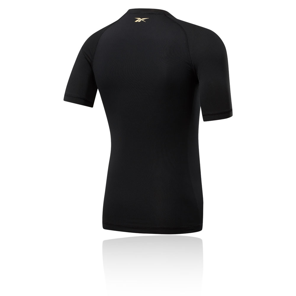 Reebok UFC Training Short Sleeve Compression Rashguard Top Shirt Black Red White