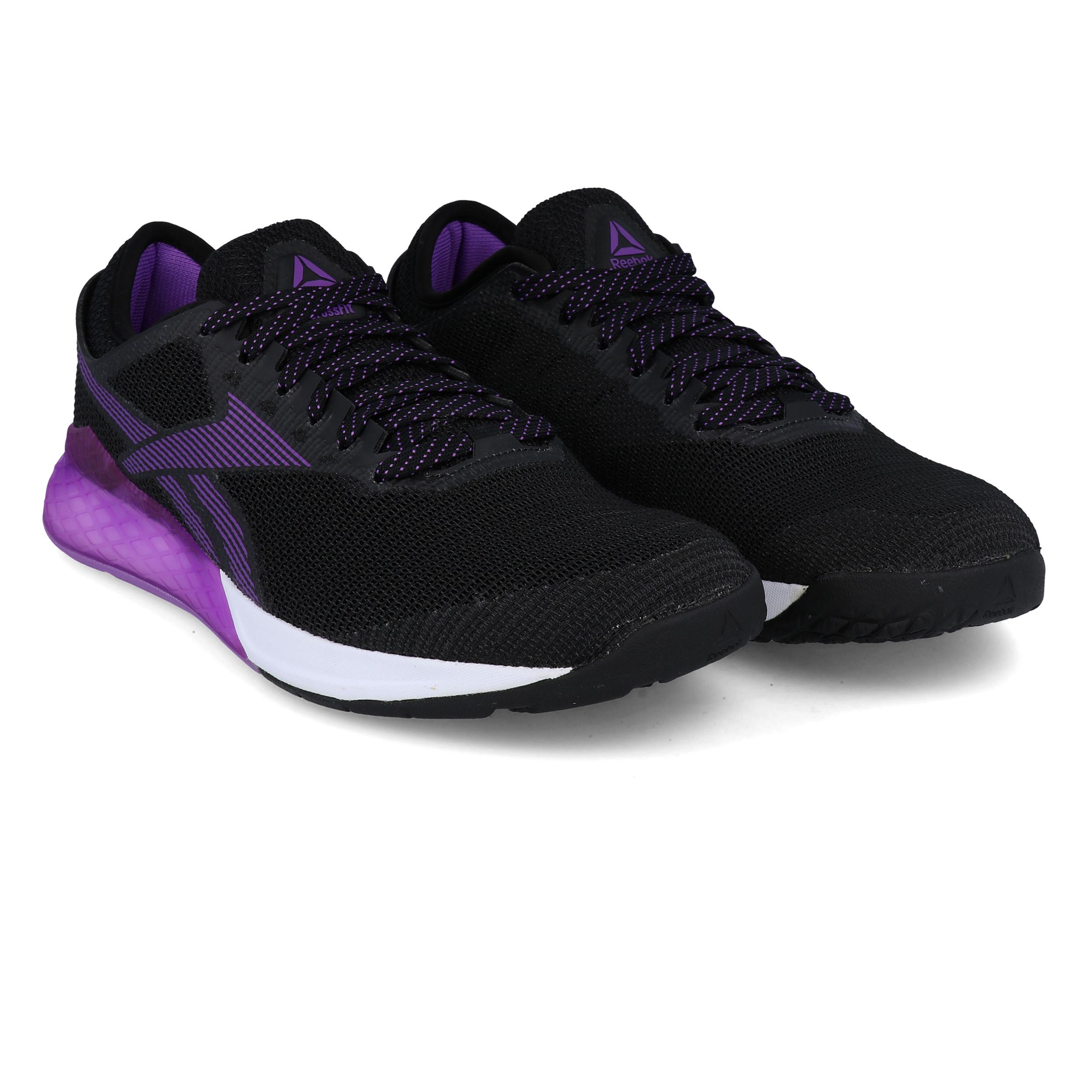 Détails sur Reebok Homme Crossfit Nano 9 Training Gym Fitness Chaussures Noir Violet Sport afficher le titre d'origine
