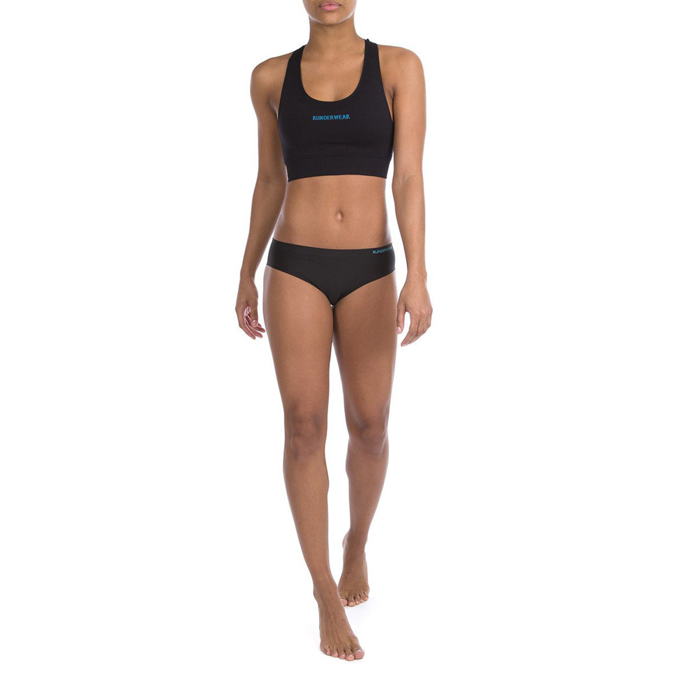 3bccea6f3fe Details about Runderwear Womens Anti-VPL Hipster Black Sports Gym Outdoors  Running Breathable