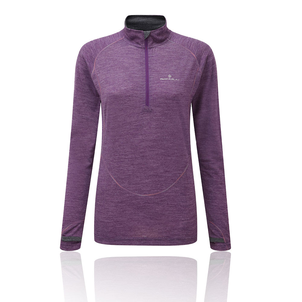 Ronhill Trail Merino Womens Purple Long Sleeve Half Zip Running Sports Top