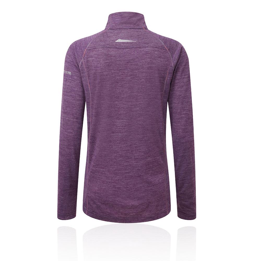 Ronhill Trail Merino Damen 1/2 Zip Laufshirt Sportshirt Sport Jogging Top  Lila
