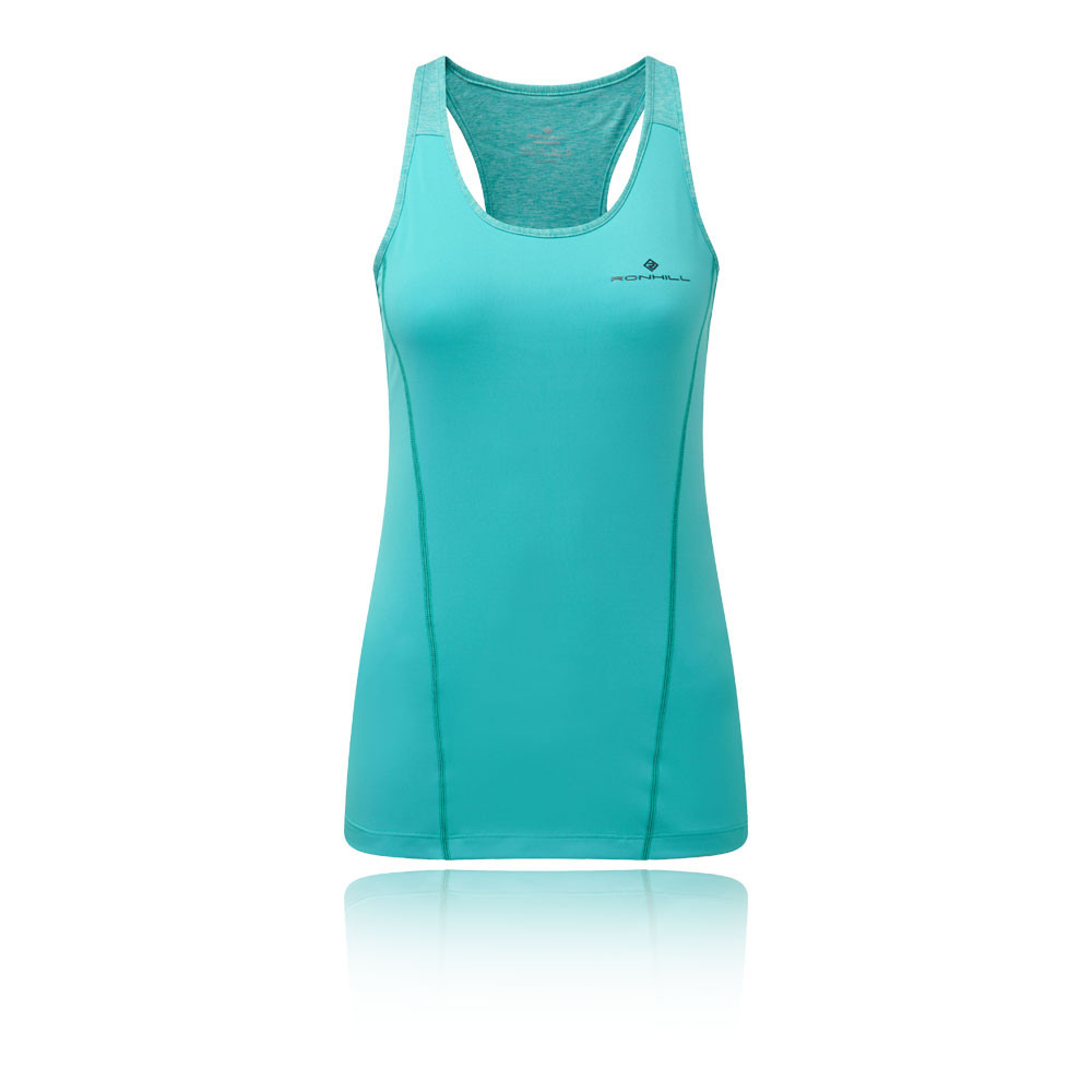 RonHill Womens Stride Tank Top Green Sports Running Breathable Lightweight
