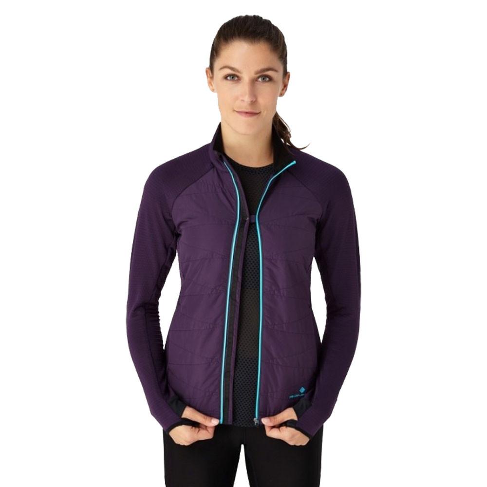 RonHill Womens Stride Hybrid Jacket Top Purple Sports Running Full Zip Warm