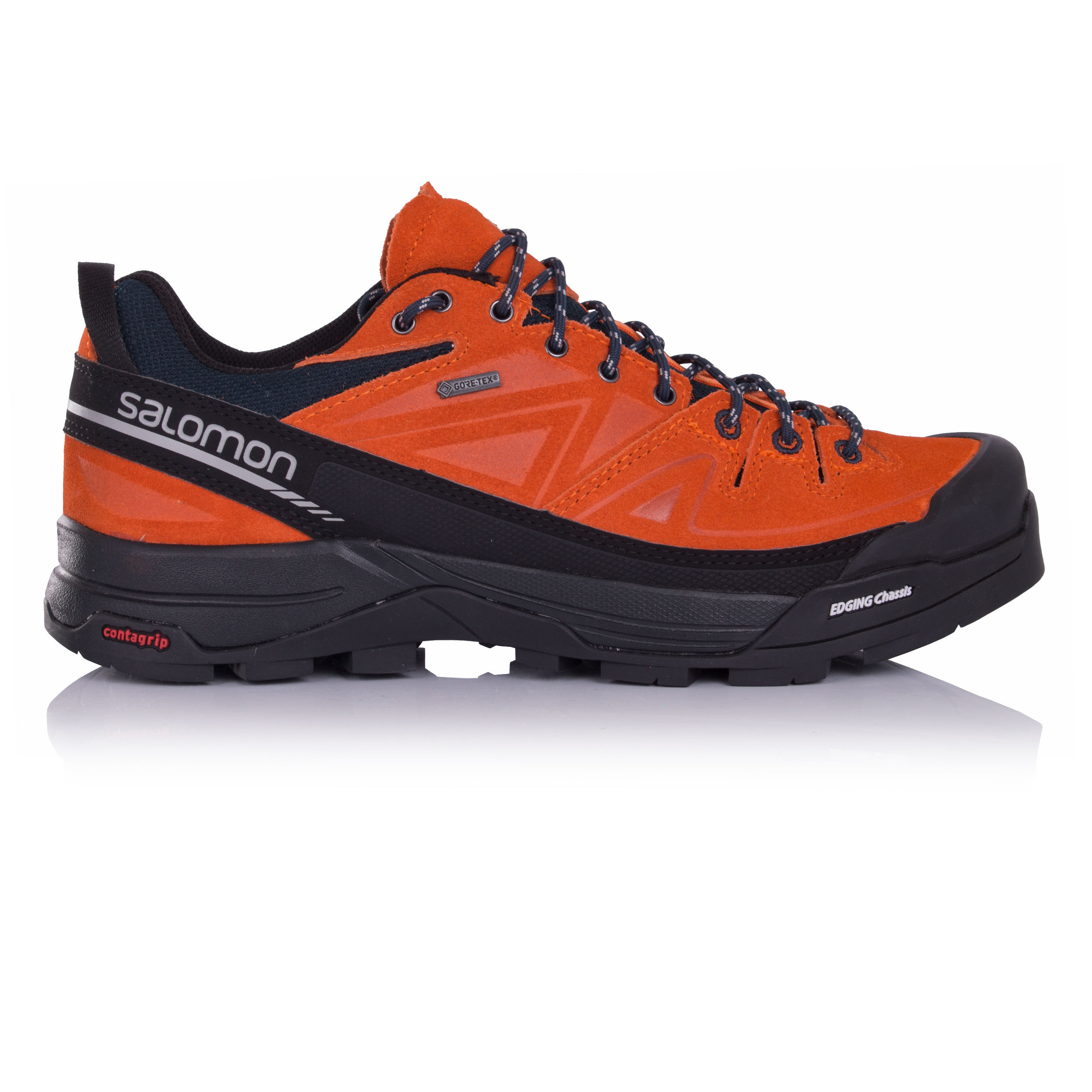 Salomon Mens X Alp Mens Orange Black Gore Tex Waterproof Running Shoes