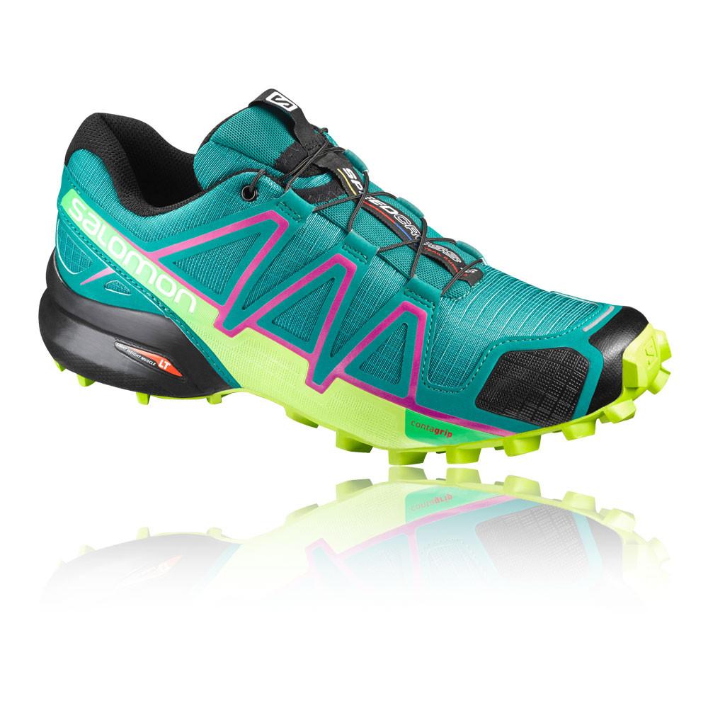 Salomon-Speedcross-4-Mujer-Verde-Azul-Resiste-Agua-Running-Zapatos-Zapatillas