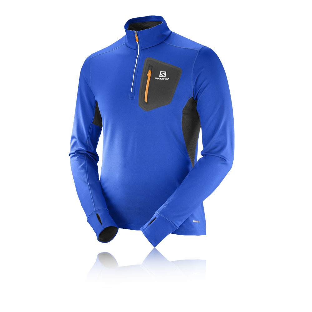 Salomon-Runner-Mens-Blue-Warm-Long-Sleeve-Half-Zip-Running-Sports-Top