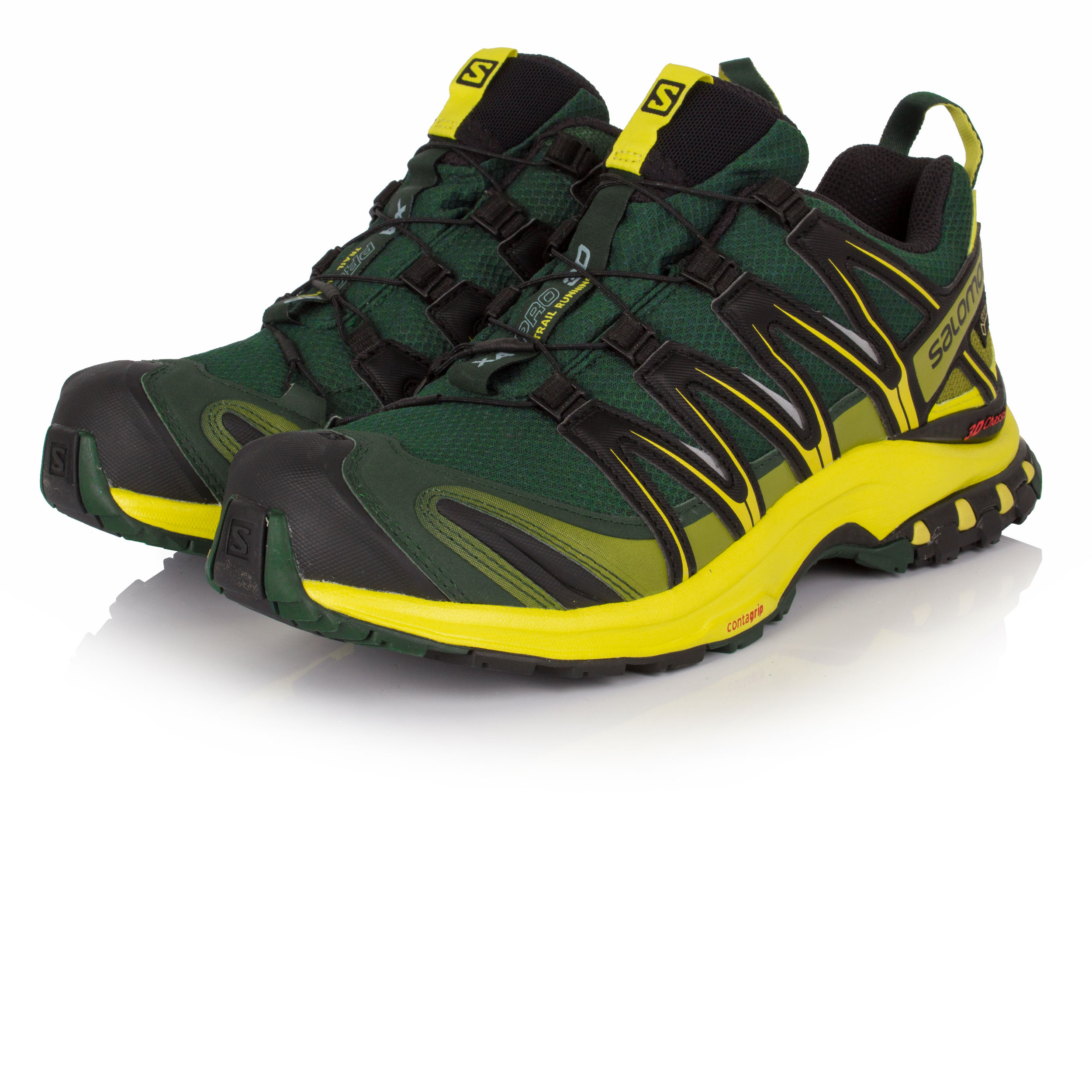 Salomon XA Pro 3D Mens Yellow Black Gore Tex Running Sports Shoes Trainers