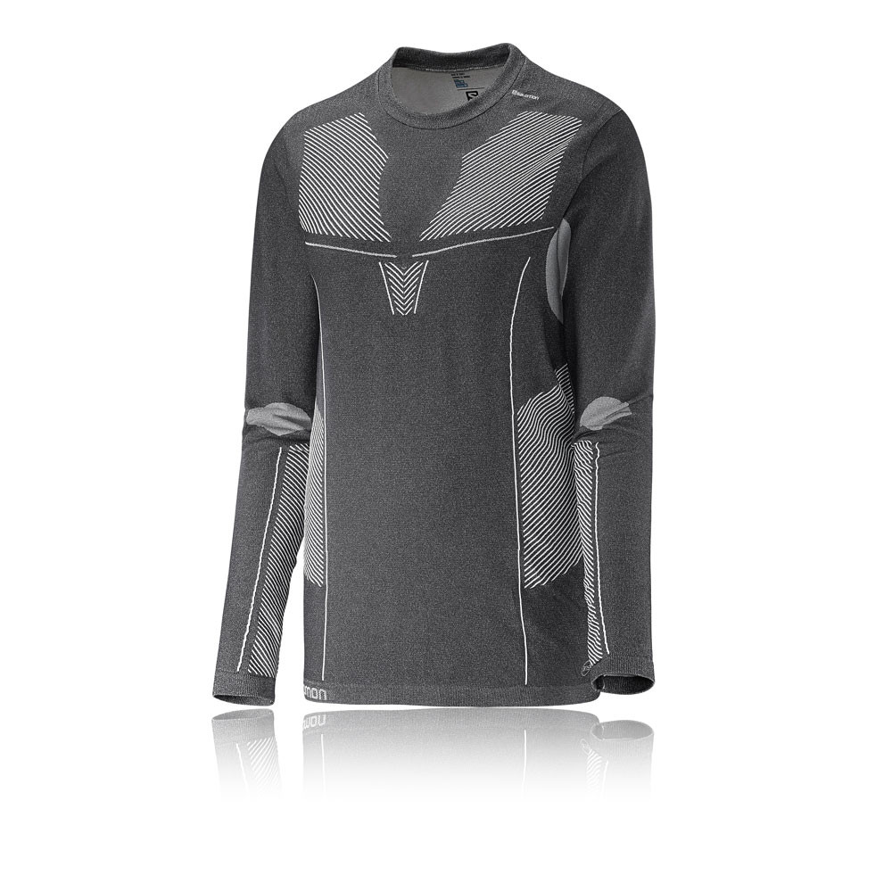 64f8cdf3394f3 Details about Salomon Womens Sports Primo Long Sleeve Crew Neck Seamless T  Shirt Tee Top Black