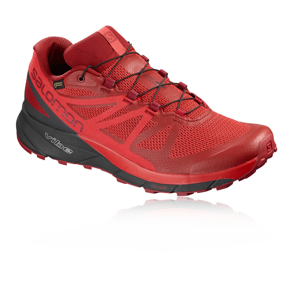 0431d33db5eb Details about Salomon Mens Sense Ride GTX Invisible Fit Trail Shoes Red  Running Water Trainers