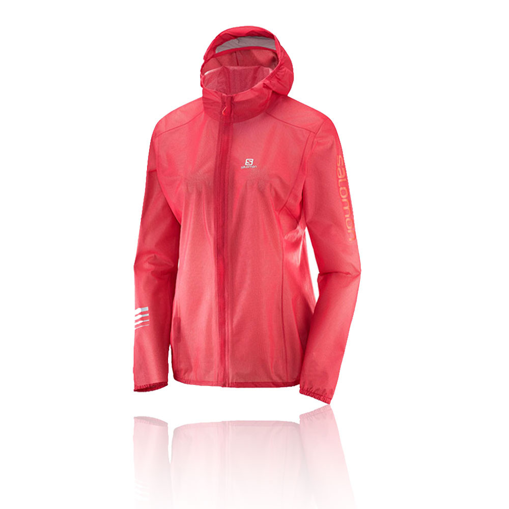 8b7eb651a014 Details about Salomon Womens Lightning Race WP Jacket Top Red Sports  Running Full Zip Hooded