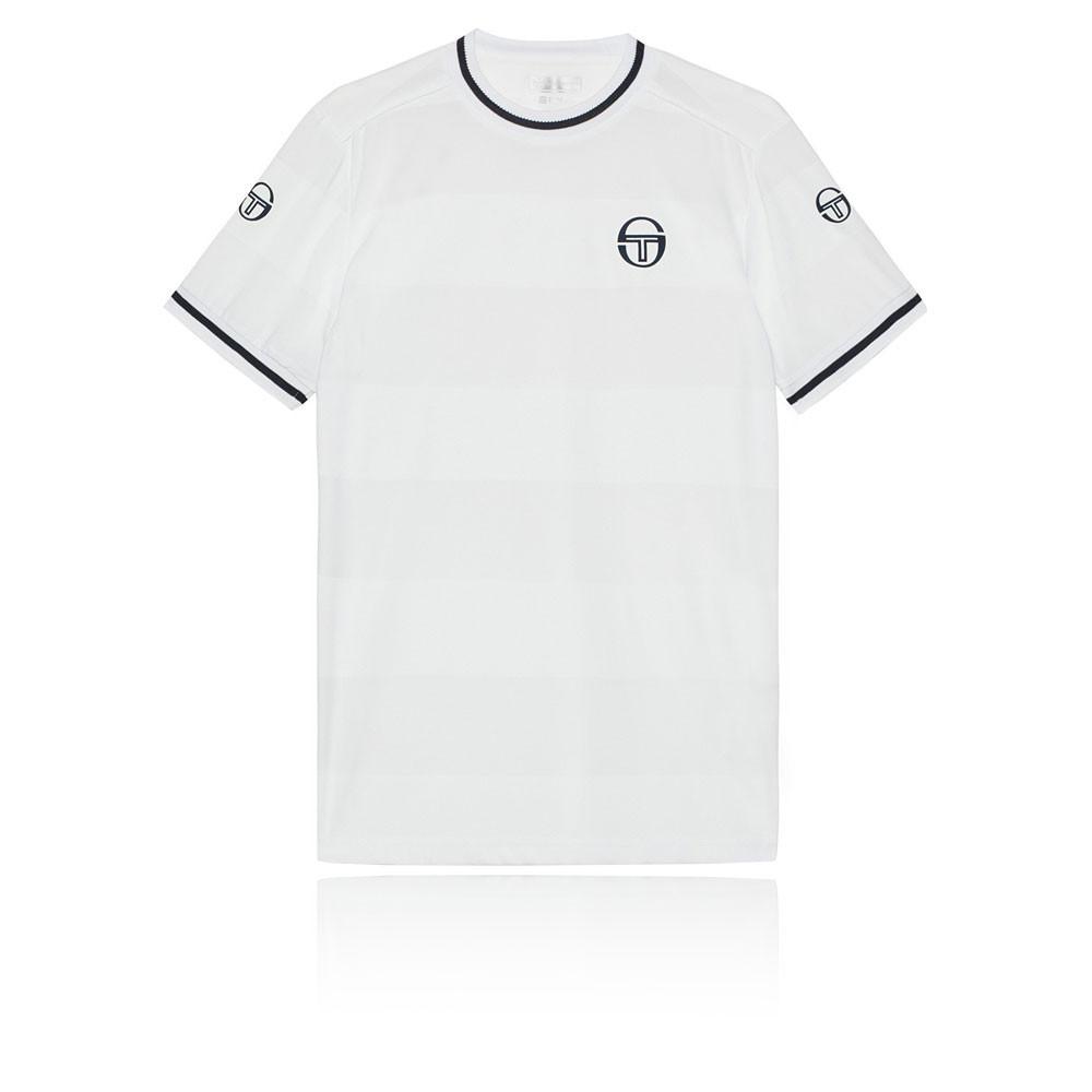 da8ceeb68a Details about Sergio Tacchini Mens Retro T Shirt Tee Top White Sports  Tennis Breathable