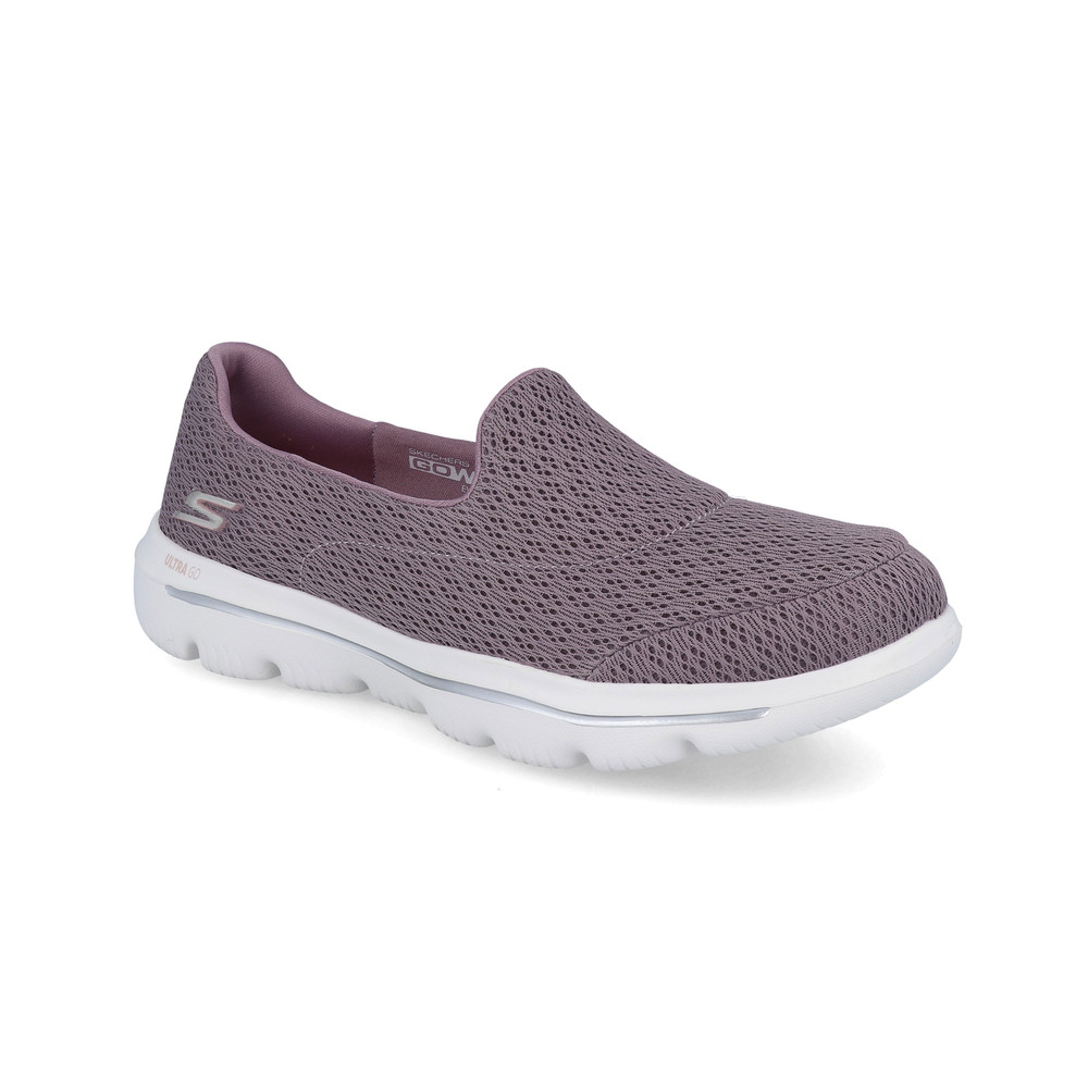 Detalles de Skechers Mujer Gowalk Evolution Ultra Zapatos Violeta Deporte Exterior