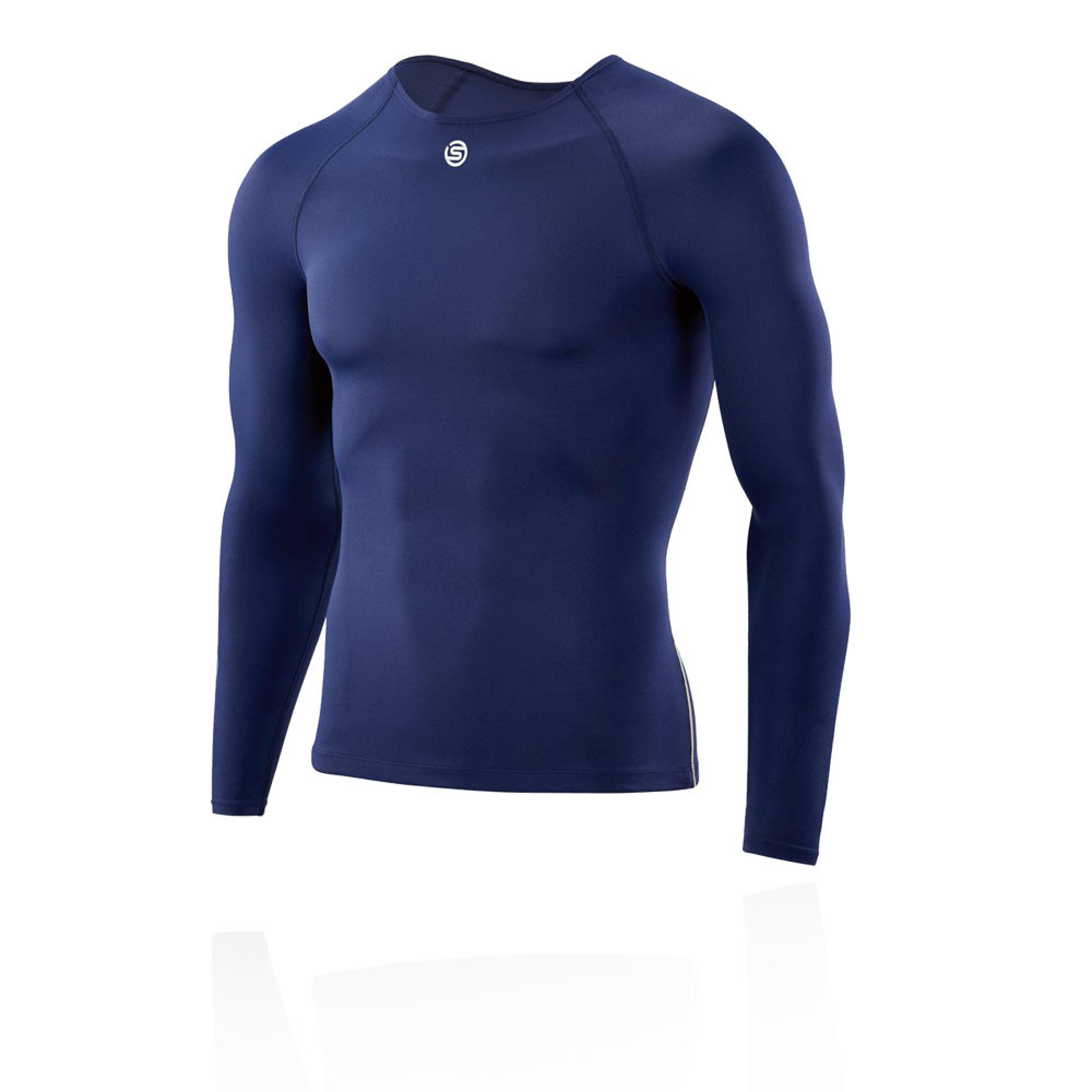 Skins DNAmic Team Mens Compression Long Sleeve Top Navy Blue NEW RELEASE