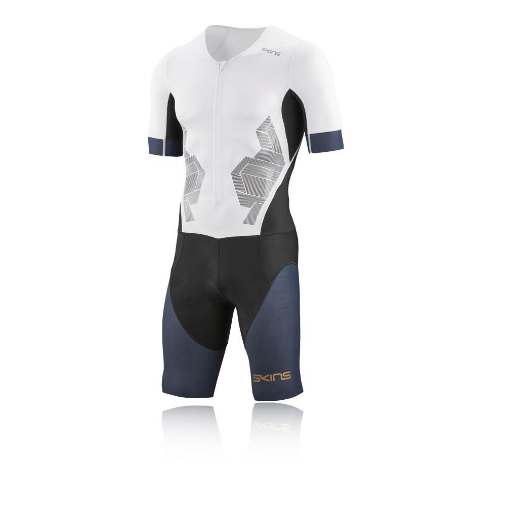 Skins DNAmic Triathlon de manga corta compresión Skin-Suit with Front cremallera