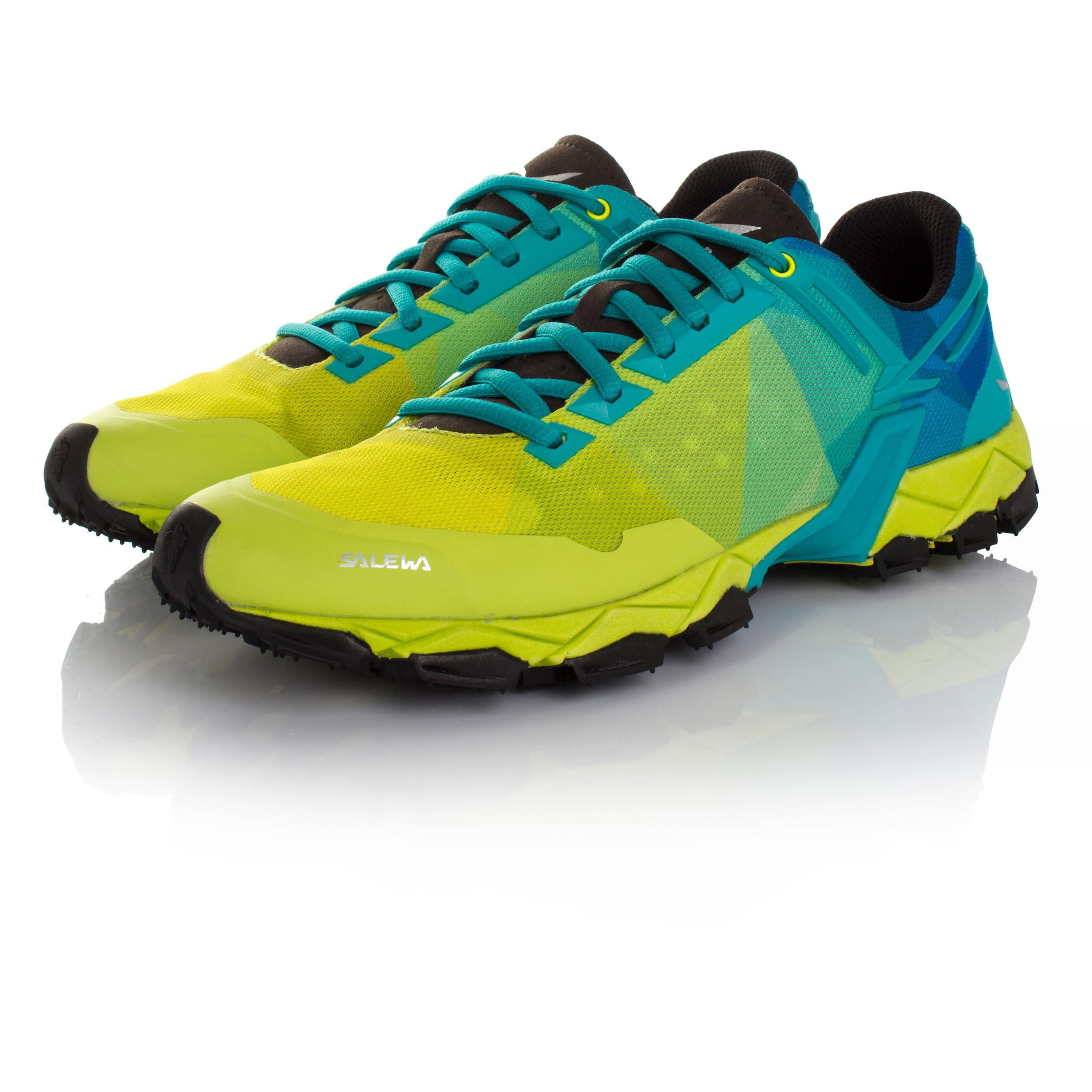 76fe7560609 Salewa Lite Train Hombre Verde Azul Sendero Running Deporte Zapatos  Zapatillas