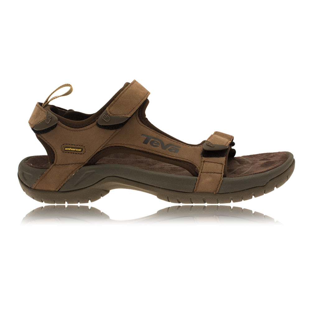 d8bda70a2554 Details about Teva Mens Tanza Brown Leather Spider Original Rubber Walking Sandals  Shoes New