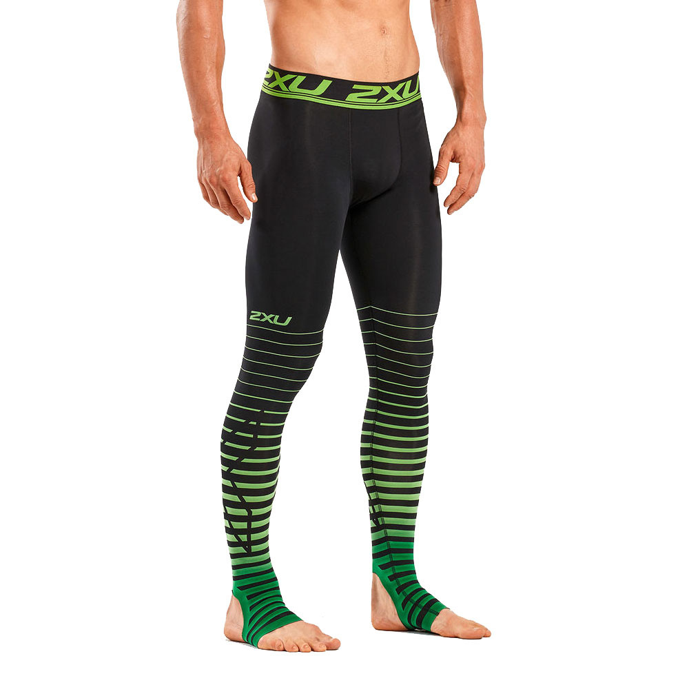 2XU Elite Recovery Herren Kompression Lang Tight Funktionshose Grün Schwarz