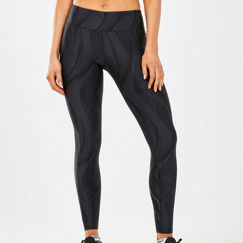 2XU Mujer Mid-Rise Print Mallas Fondo Pantalones Negro Deporte Gimnasio  Correr 6b9101c7683c9