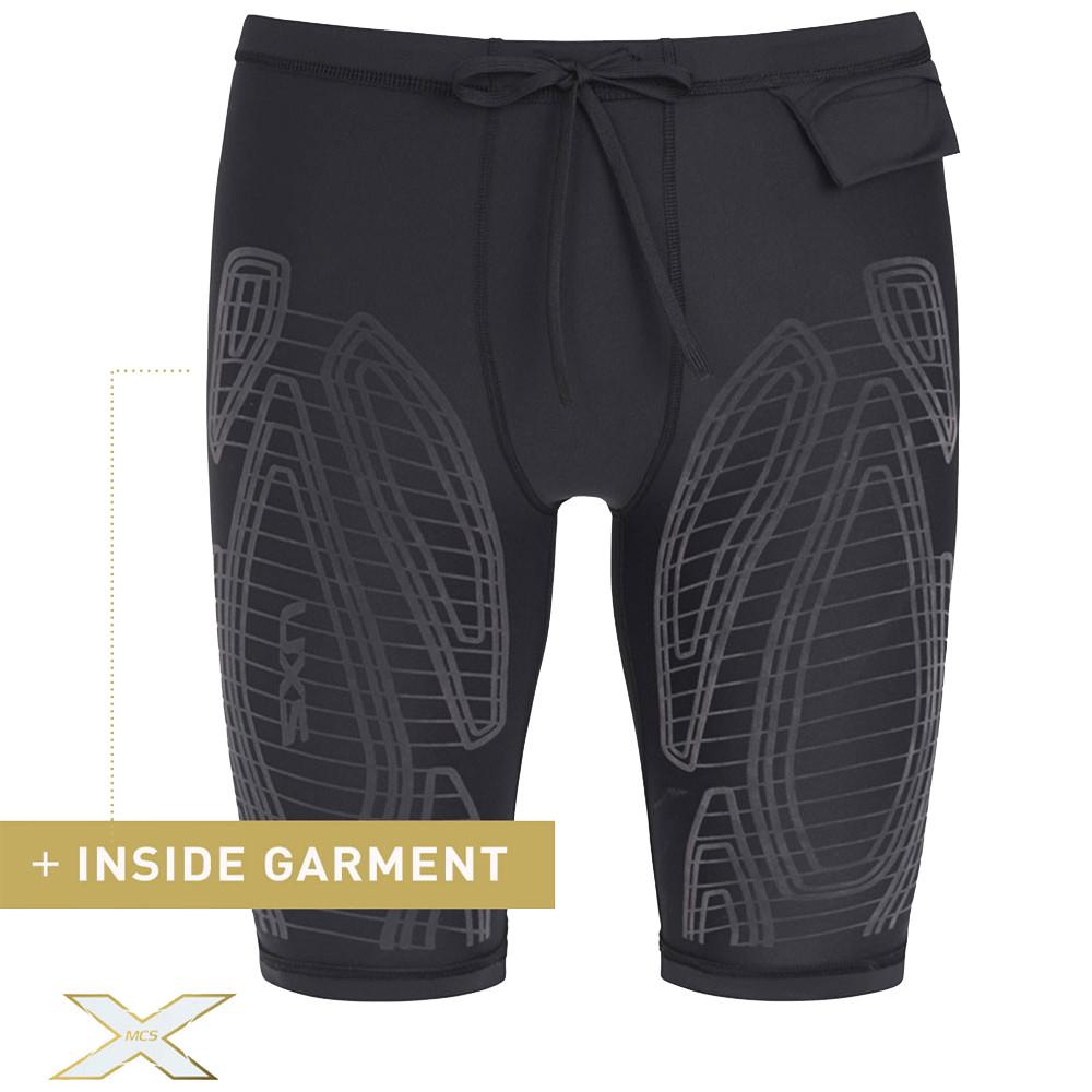 Dettagli su 2XU Uomo MCS Run Compressione Pantaloncini Shorts Nero Arancione Sport Corsa