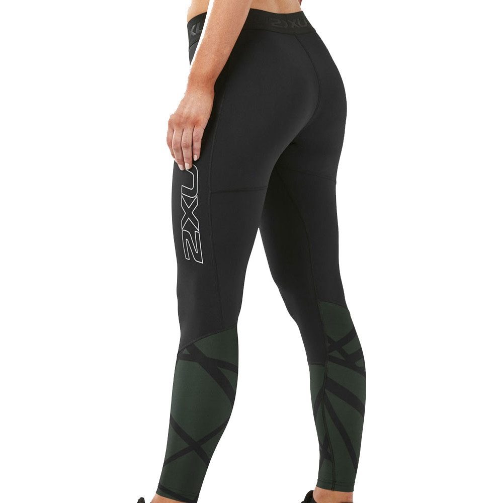 ebb5e28b98 2XU Womens Accelerate Compression Tights Bottoms Pants Trousers Black  Sports Gym