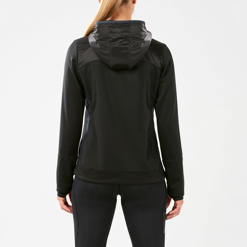 2XU Womens HEAT Membrane Hooded Jacket Top Black Sports Running Full Zip