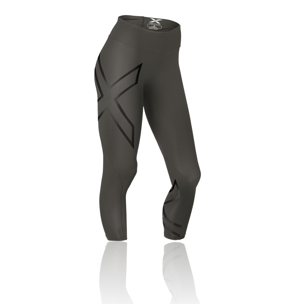 2XU-Womens-Grey-Mid-Rise-Compression-Running-Capri-Tights-Bottoms-Pants