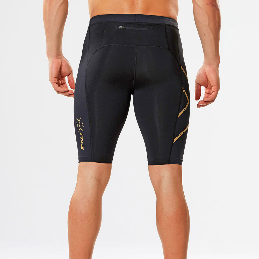 fc25d34507d15 2XU Elite MCS G2 Mens Black Gold Compression Running Gym Shorts ...
