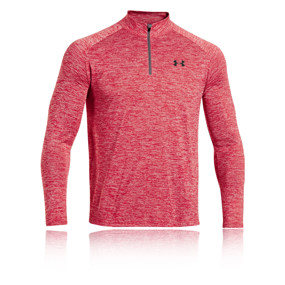 Under Armour Tech Mens Red Half Zip Long Sleeve Running