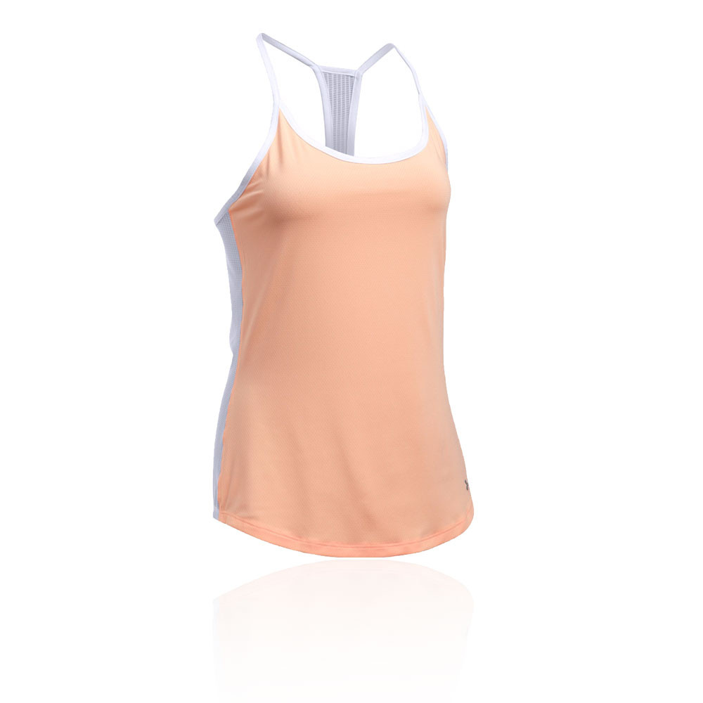 3a027d9339a4f Under Armour Fly By Womens Orange Sleeveless Racerback Running Vest Tank Top