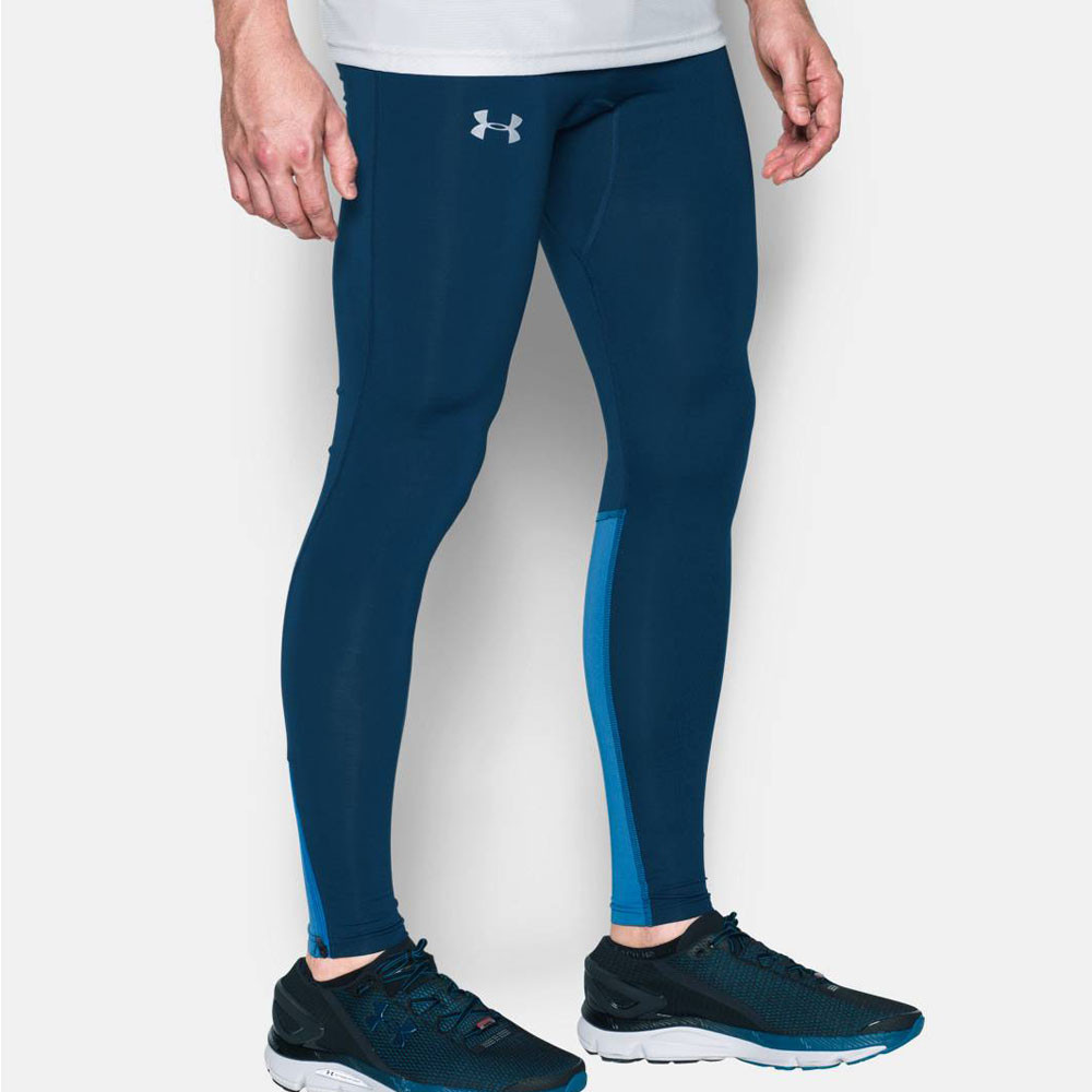 Under-Armour-No-Breaks-Mens-Blue-Compression-Running-Long-Tights-Bottoms-Pants