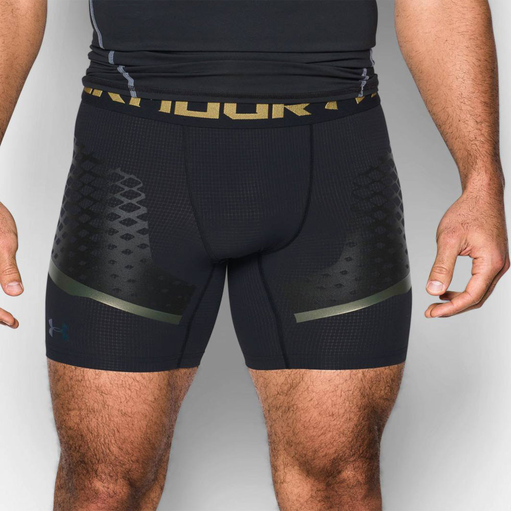 Under Armour HeatGear Zonal Mens Black Compression Running ... Compression Shorts For Men Under Armour