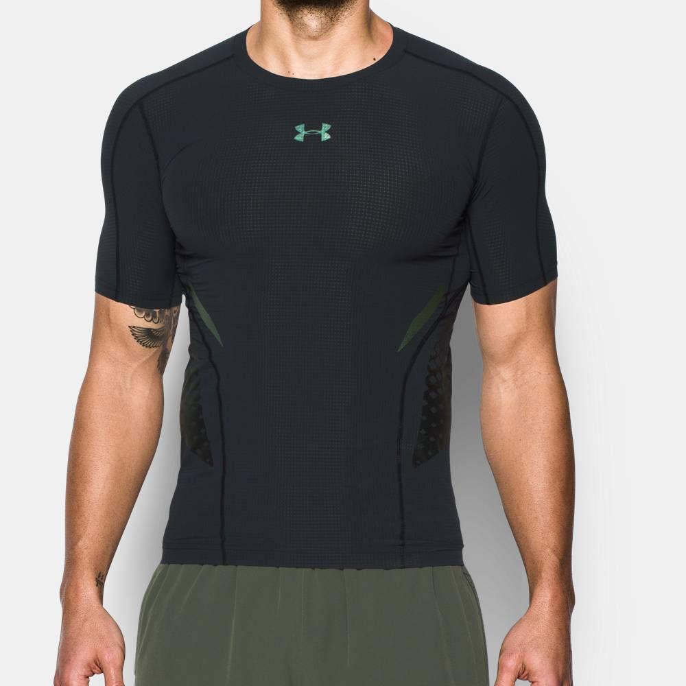 Black Sports Under Armour Mens HeatGear Rush Compression T Shirt Tee Top