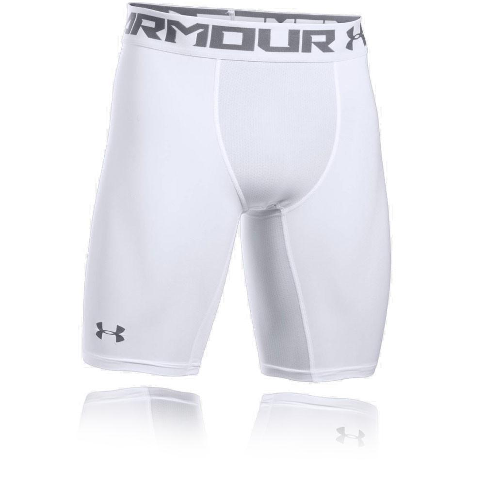 Under Armour Mens HeatGear 2.0 Compression Sports Shorts Pants White