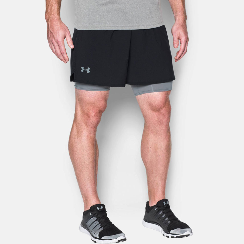 under armour qualifier 2 in 1 herren trainingshose kurze hose shorts schwarz ebay. Black Bedroom Furniture Sets. Home Design Ideas