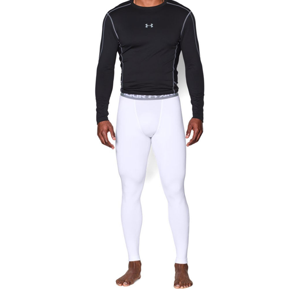 Under Armour Coldgear Mens White Compression Gym Long Tights Bottoms Pants | eBay